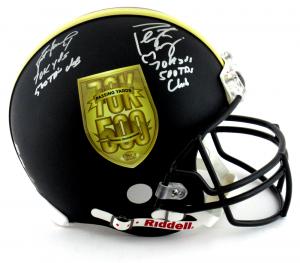 Brett Favre & Peyton Manning Signed Riddell Black Authentic 70K Yards & 500 TDs NFL Helmet with Yardage & TD Inscription LE #118 of 150-0