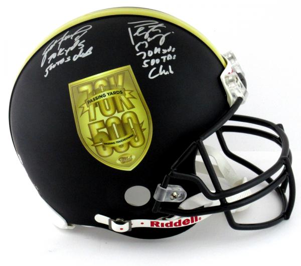 Brett Favre & Peyton Manning Signed Riddell Black Authentic 70K Yards & 500 TDs NFL Helmet with Yardage & TD Inscription LE #144 of 150-0
