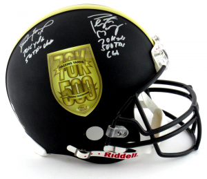Brett Favre & Peyton Manning Autographed/Signed Riddell Black Authentic 70K Yards & 500 TDs NFL Helmet with Yardage & TD Inscription LE #150 of 150-0