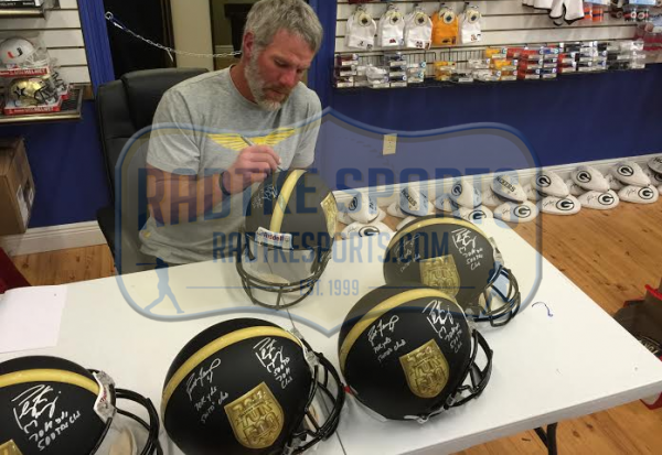 Brett Favre & Peyton Manning Autographed/Signed Riddell Black Authentic 70K Yards & 500 TDs NFL Helmet with Yardage & TD Inscription LE #150 of 150-8397