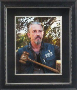 Tommy Flanagan Signed Sons Of Anarchy 19x22 Custom Framed Walnut Judge Gavel Shadow Box-0