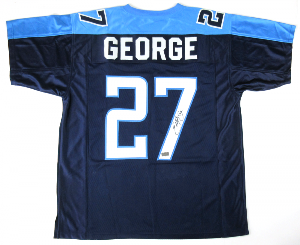 Eddie George Signed Tennessee Titans Navy Blue Custom Home Jersey-8932
