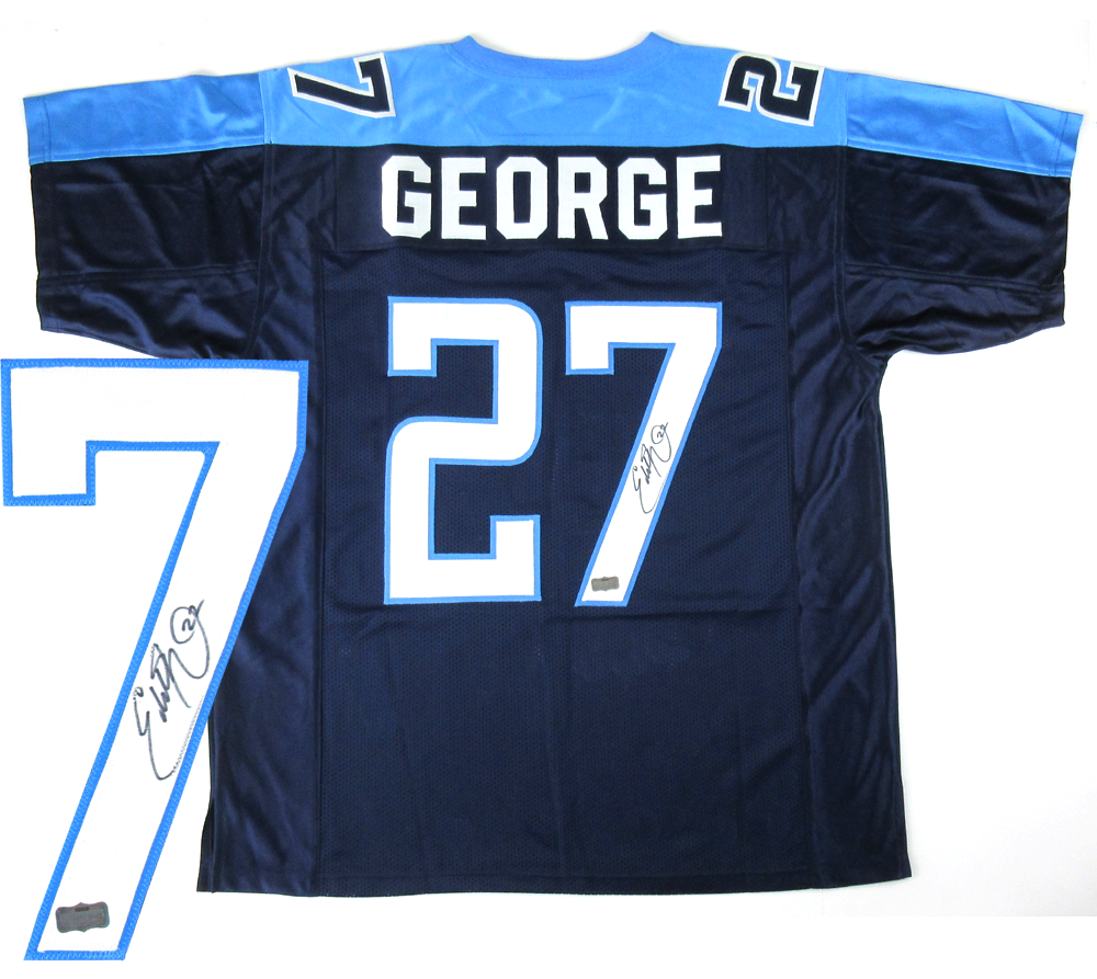 ec1fa42a66a Eddie George Signed Tennessee Titans Navy Blue Custom Home Jersey ...