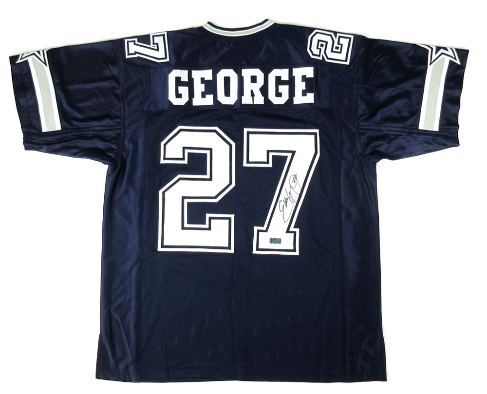 detailed look 7641e ed6be Eddie George Signed Dallas Cowboys Navy Blue Custom Home Jersey