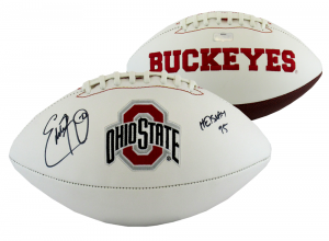 "Eddie George Signed Ohio State Buckeyes Embroidered NCAA Logo Football with ""Heisman 95"" Inscription-0"