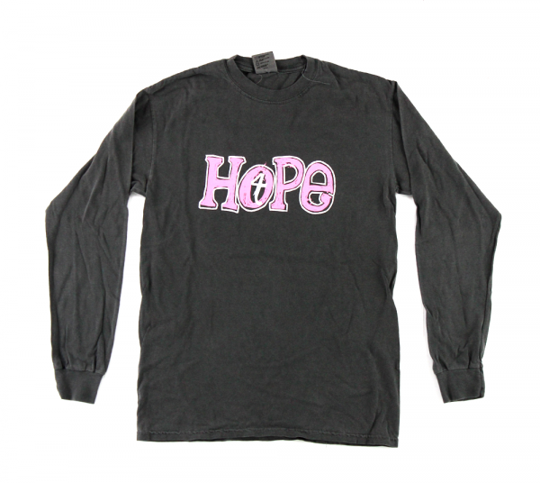 "Official Favre 4 Hope Grey Women's Longsleeve Shirt with Pink ""HOPE""-0"