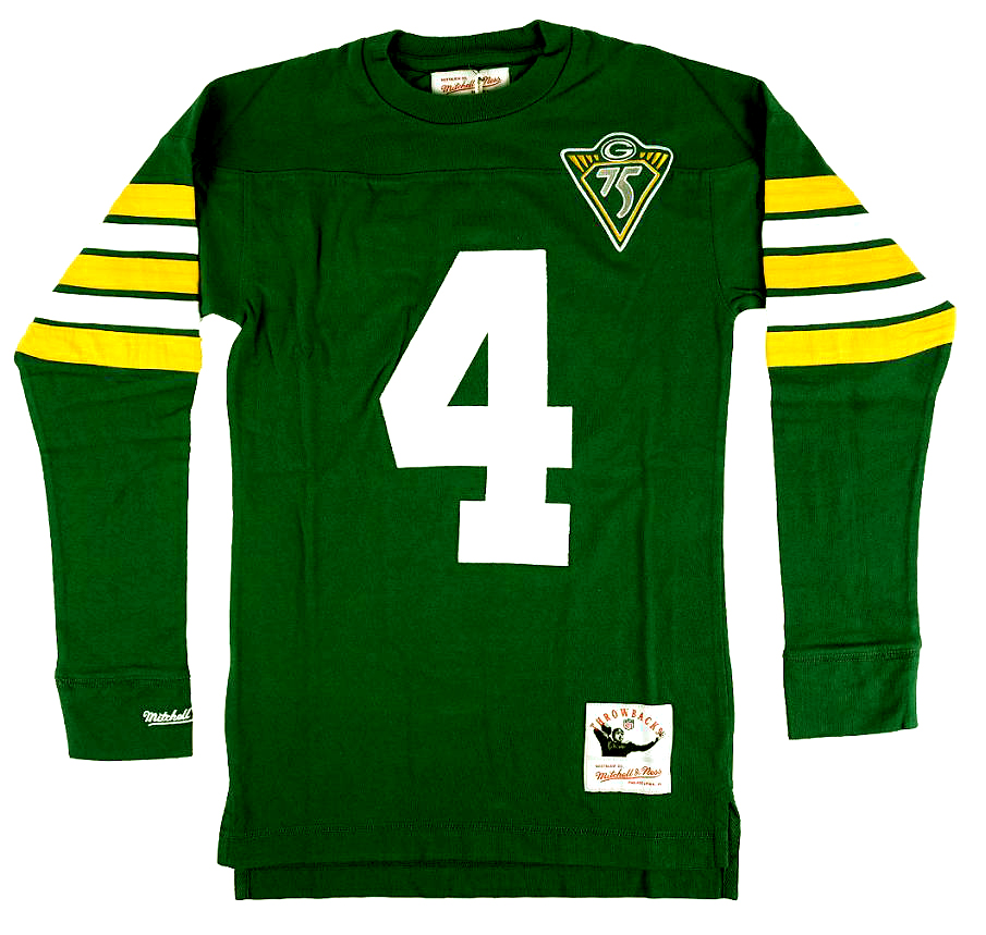 Brett Favre Green Bay Packers Mitchell & Ness Green Throwback Name and Number Long Sleeve Shirt