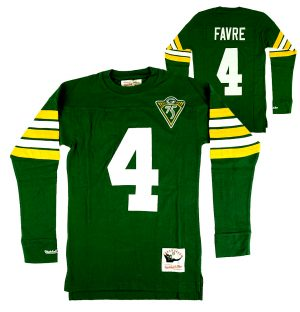 Brett Favre Green Bay Packers Mitchell & Ness Green Throwback Name and Number Long Sleeve Shirt-0
