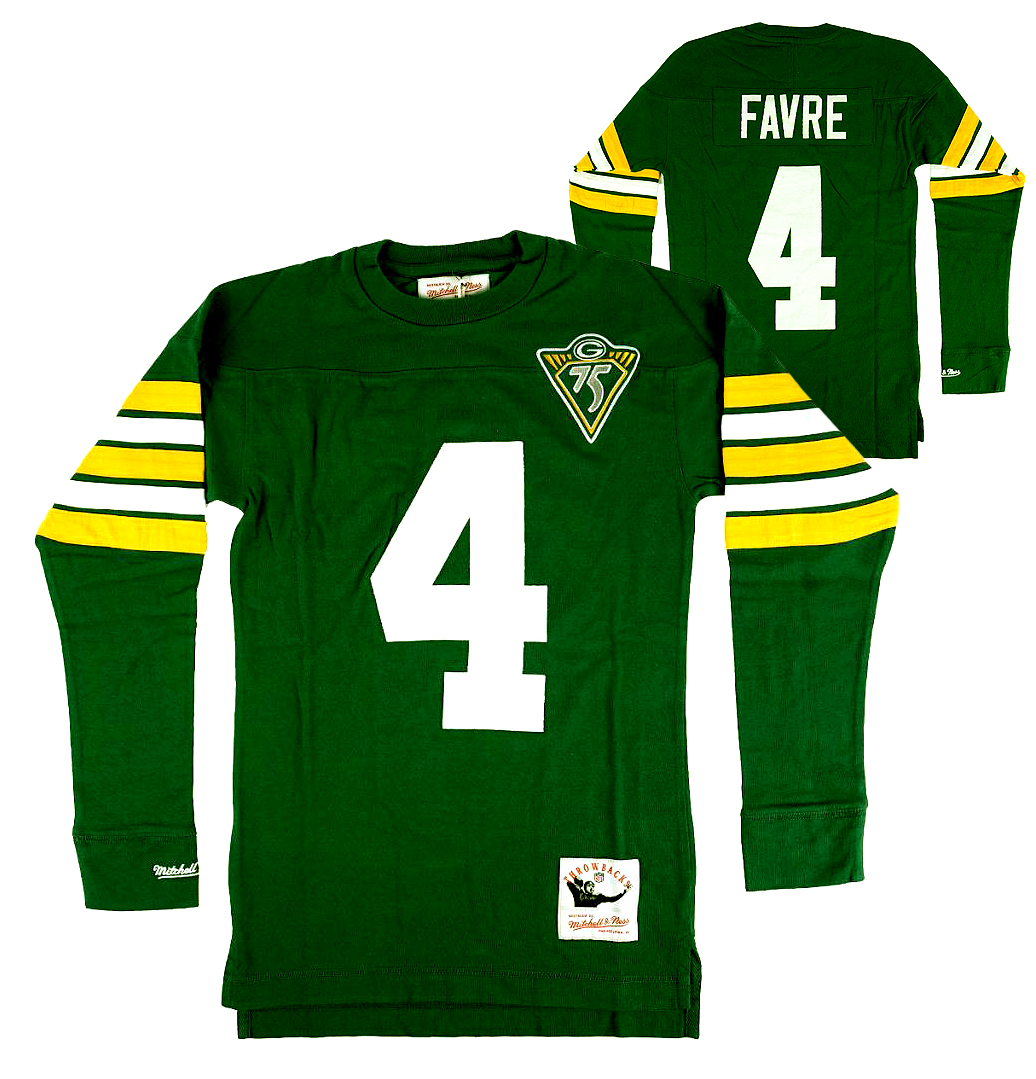 reputable site 59357 03a45 Brett Favre Green Bay Packers Mitchell & Ness Green Throwback Name and  Number Long Sleeve Shirt