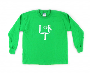 Official Favre 4 Hope Green Youth Longsleeve Shirt With Goal Post-0