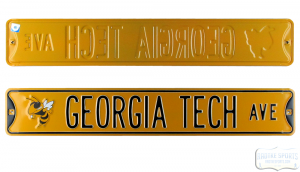 Georgia Tech Yellow Jackets Avenue Officially Licensed Authentic Steel 36x6 Yellow & Black NCAA Street Sign-0