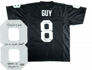 Ray Guy Signed Oakland Raiders Black Custom Jersey with SB Champs & Master of Hangtime Inscriptions-0