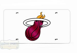Miami Heat Officially Licensed NBA Laser Tag Mirror License Plate - White-0