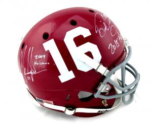 Mark Ingram & Derrick Henry Signed Alabama Crimson Tide Schutt Full Size Helmet with Heisman Inscriptions-0