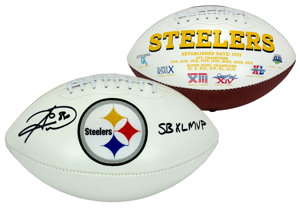 5524e7787dd Hines Ward Signed Pittsburgh Steelers Embroidered NFL Logo Football with