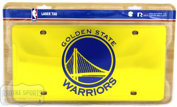 Golden State Warriors Officially Licensed NBA Laser Tag Mirror License Plate - Yellow-0