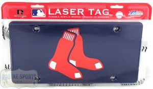 Boston Red Sox Officially Licensed MLB Laser Tag Mirror License Plate - Blue With Socks-0