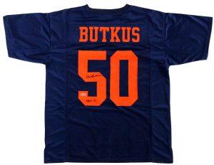 "Dick Butkus Signed Illinois Fighting Illini Custom Blue Jersey With ""CHOF 83"" Inscription-0"