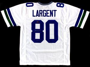 "Steve Largent Signed Seattle Seahawks Custom White Jersey With ""HOF 95"" Inscription-0"