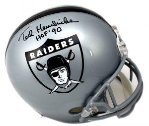 """Ted Hendricks Signed Oakland Raiders Riddell Throwback Full Size NFL Helmet With """"HOF 90"""" Inscription -0"""