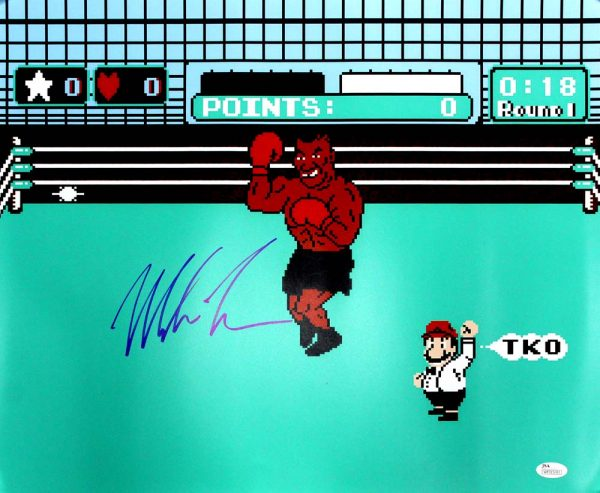 Mike Tyson Signed Nintendo Mike Tyson's Punch Out 16x20 Photo-0
