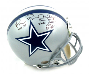 "Michael Irvin Signed Dallas Cowboys Riddell Authentic NFL Helmet with ""HOF, Champs"" Inscriptions-0"