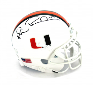 "Michael Irvin Signed Miami Hurricanes Schutt NCAA Mini Helmet with ""Playmaker"" Inscription-0"