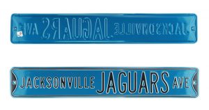 Jacksonville Jaguars Avenue Officially Licensed Authentic Steel 36x6 Teal & Silver NFL Street Sign-0