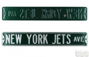 New York Jets Avenue Officially Licensed Authentic Steel 36x6 Green & White NFL Street Sign-0