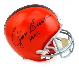 "Jim Brown Signed Cleveland Browns Riddell Throwback Full Size NFL Helmet with ""HOF 71"" Inscription-0"