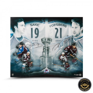 "Joe Sakic & Peter Forsberg Signed ""2x Champs"" 20x24 Photo-0"