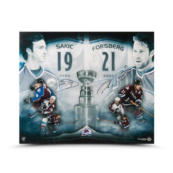 "Joe Sakic & Peter Forsberg Signed ""2x Champs"" 20x24 Photo-13840"