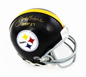 "Joe Greene Signed Pittsburgh Steelers Riddell Throwback NFL Mini Helmet with ""HOF 87"" Inscription-0"