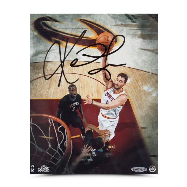 """Kevin Love Signed Cleveland Cavaliers 8x10 """"Over the Top"""" Photo-13725"""