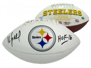 "Kevin Greene Signed Pittsburgh Steelers NFL Logo Football with ""HOF 16"" Inscription-0"