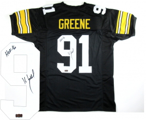 "Kevin Greene Signed Pittsburgh Steelers Black Custom Jersey with ""HOF 16"" Inscription-0"