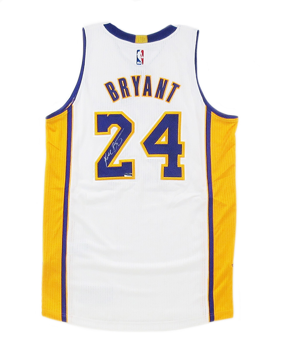 100% authentic 10bfd e6dc6 Kobe Bryant Signed Los Angeles Lakers White 2014 Adidas Authentic NBA  Jersey - Panini