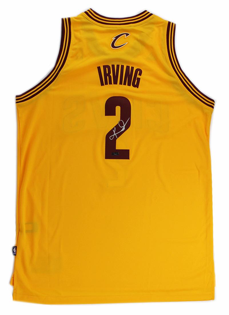 1acb12ad968 ... Kyrie Irving Signed Cleveland Cavaliers Adidas Swingman Yellow NBA  Jersey - Panini-17268 ...