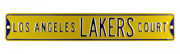 Los Angeles Lakers Court Officially Licensed Authentic Steel 36x6 Purple & Yellow NBA Street Sign-9049
