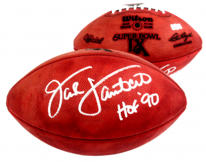 "Jack Lambert Signed Wilson Authentic Super Bowl 9 NFL Football with ""HOF 90"" Inscription - Pittsburgh Steelers-0"