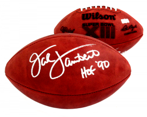 "Jack Lambert Signed Wilson Authentic Super Bowl 13 NFL Football with ""HOF 90"" Inscription - Pittsburgh Steelers-0"