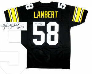 "Jack Lambert Signed Pittsburgh Steelers Black Throwback Custom Jersey with ""HOF 90"" Inscription-0"