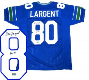 "Steve Largent Signed Seattle Seahawks Throwback Blue Custom Jersey with ""HOF 95"" Inscription-0"
