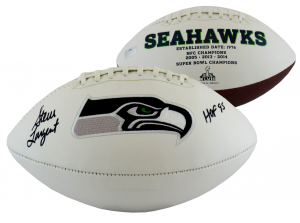 "Steve Largent Autographed/Signed Seattle Seahawks Logo Football with ""HOF 95"" Inscription-0"