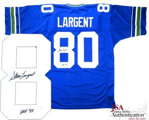 "Steve Largent Signed Seattle Seahawks Throwback Custom Home Jersey with ""HOF 95"" Inscription - JSA-0"