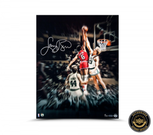 "Larry Bird Signed ""Blocking the Doctor"" 16x20 Photo - LE-0"