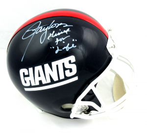 """Lawrence Taylor Signed New York Giants Throwback Full Size Helmet with """"Giant for Life"""" Inscription - LE #1/56-0"""