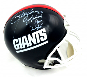"""Lawrence Taylor Signed New York Giants Throwback Full Size Helmet with """"Giant for Life"""" Inscription - LE #56/56-0"""
