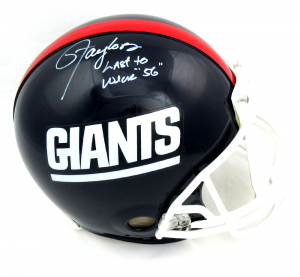 "Lawrence Taylor Signed New York Giants Throwback Authentic Helmet with ""Last to Wear 56"" Inscription - LE #56/56-0"
