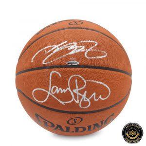 LeBron James & Larry Bird Signed Spalding Basketball-0